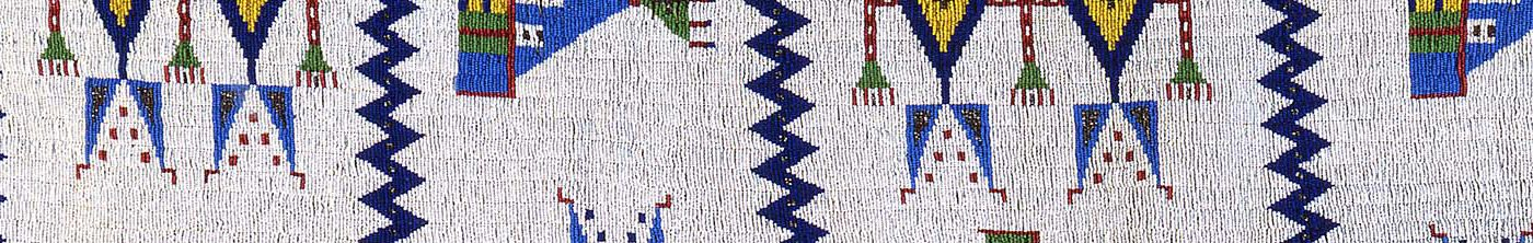 Detail of beading on trousers and suspenders, ca. 1920s. Northern Arapaho. Leather, beads. 1.69.5935 (detail)