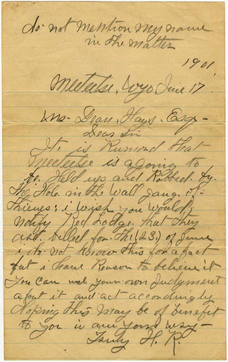 Letter. MS 92 Dean Hays Collection, McCracken Research Library. MS92.01.01