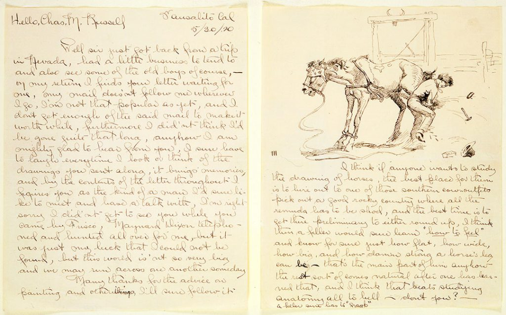 """While incarcerated in Nevada, James impressed his captors with his horse sketches, probably similar to this drawing from an illustrated letter James sent to fellow artist and friend, Charlie Russell, May 30, 1920. (Note James's comment to Russell: """"Well sir just got back from a trip in Nevada, had a little business to tend to and also see some of the old boys of course…I did'nt [sic] think I'd be gone quite that long, anyhow I am mighty glad to hear from you…"""") Gift of William E. Weiss. 79.60.2a/b"""