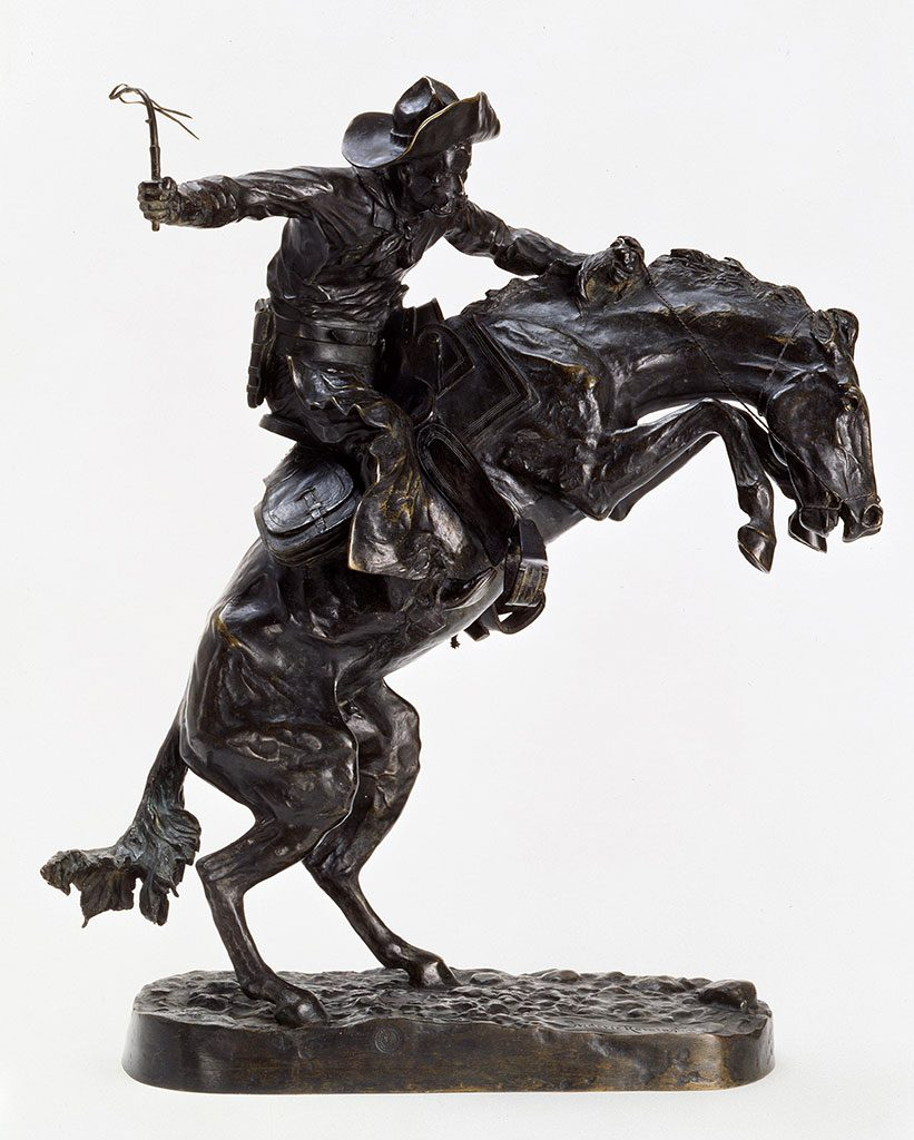 "Remington was also an extraordinary sculptor, with twenty-two bronze sculptures in editions—like this one—created in his lifetime. ""The Broncho Buster,"" 1895. Bronze. Gift of G.J. Guthrie Nicholson Jr. and son in memory of their father/grandfather G.J. Guthrie Nicholson, rancher at Four Bear, Meeteetse, WY. 7.74"