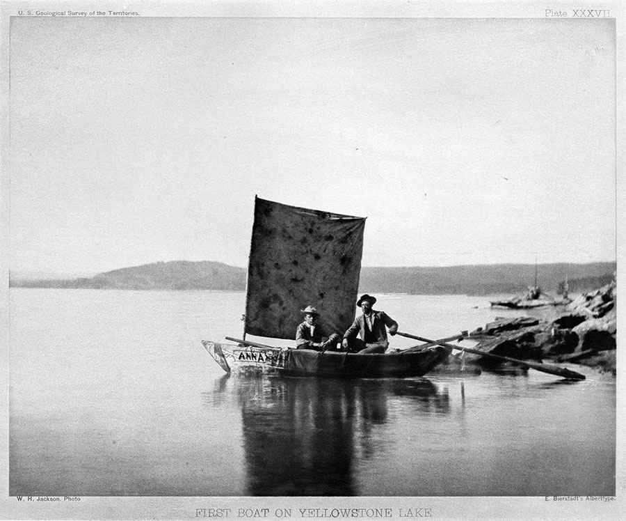 "Albertype of William Henry Jackson photo of ""1st boat on Yellowstone Lake."" U.S. Geological Survey of the Territories, 1871. Platte XXXV11. From the collection of Dr. Robert Enteen. WHJ-A.040"
