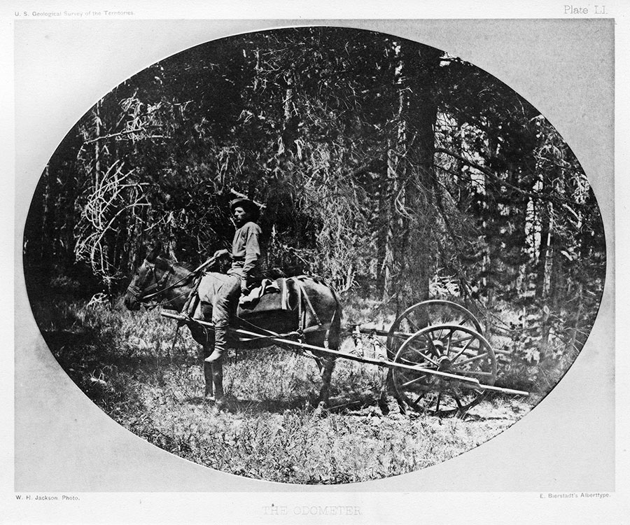 Albertype of William Henry Jackson photo. Expedition rider measures distance with this early odometer. U.S. Geological Survey of the Territories, 1871. Plate LI. Buffalo Bill Center of the West, Cody, Wyoming, USA. From the collection of Dr. Robert Enteen. WHJ-A.054