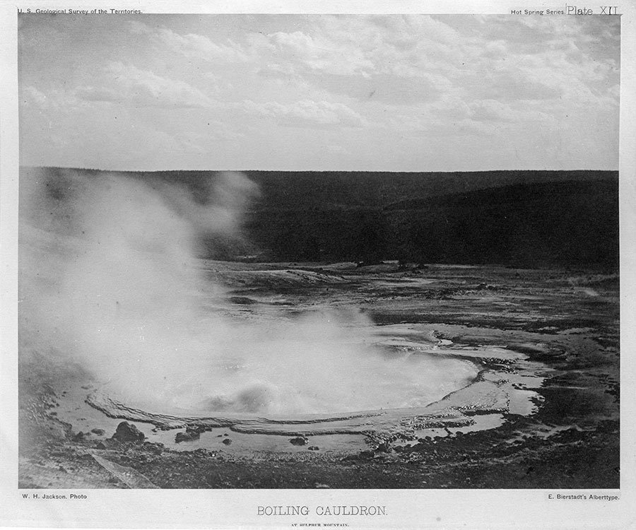 Albertype William Henry Jackson photo. Boiling Cauldron at Sulphur Mountain, 1871. Plate XII. Buffalo Bill Center of the West, Cody, Wyoming, USA. From the collection of Dr. Robert Enteen. WHJ-A.067