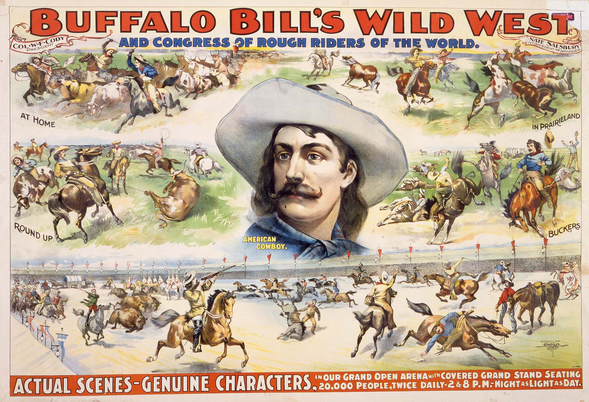 Buffalo Bill's Wild West poster highlighting cowboys, ca. 1896. Courier Litho. Co. 1.69.425