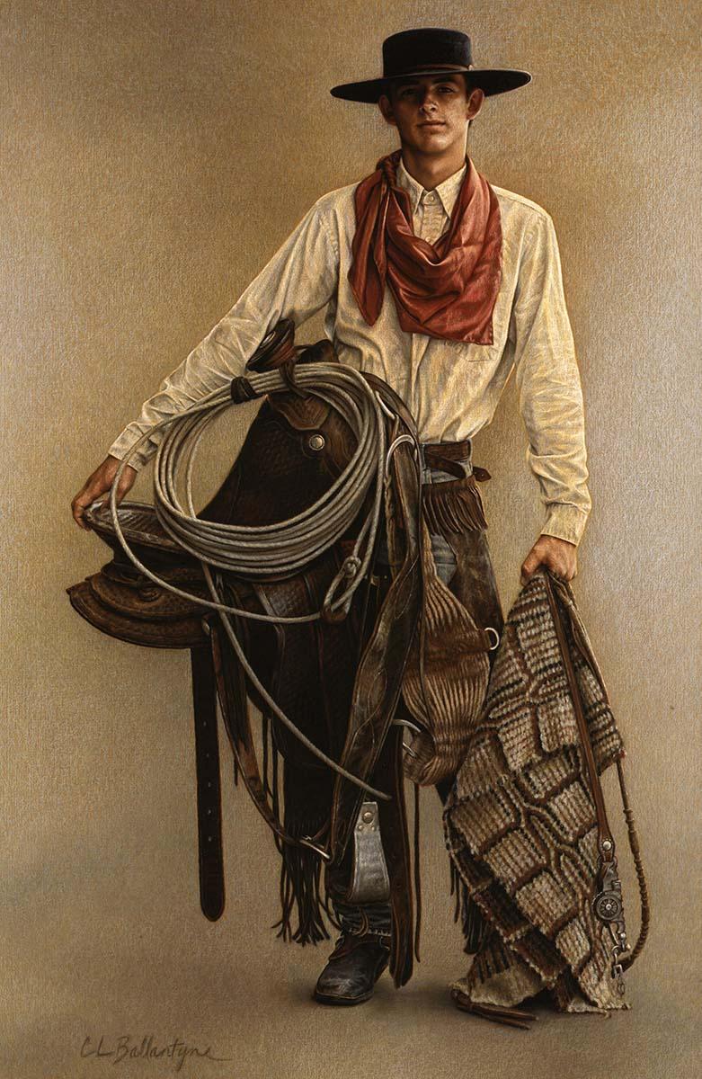 "Carrie L. Ballantyne (b. 1956). ""Great Basin Buckaroo,"" ca. 2004. Color pencil. William E. Weiss Purchase Award—2004 Buffalo Bill Art Show & Sale. 10.04"