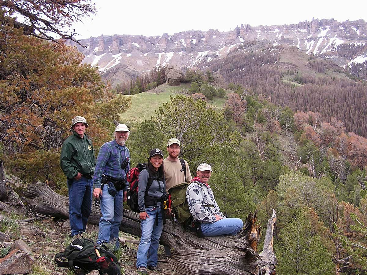 Members of the 2004 Carter Mountain field crew. L to R: Erik Reynolds, John Campbell, Ayako Yamamoto, Ronnie Hegemann, Charles Preston. Photo by Lynne Otto.