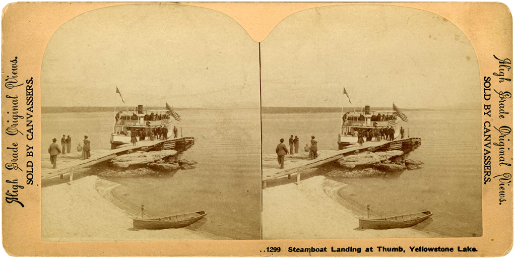 Stereocard of Waters's steamboat The Zillah. (ST.21.77) MS 21, Yellowstone National Park Collection, McCracken Research Library, Buffalo Bill Center of the West.
