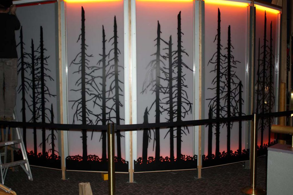 Draper Natural History Museum fire exhibit, adding the burned forest.