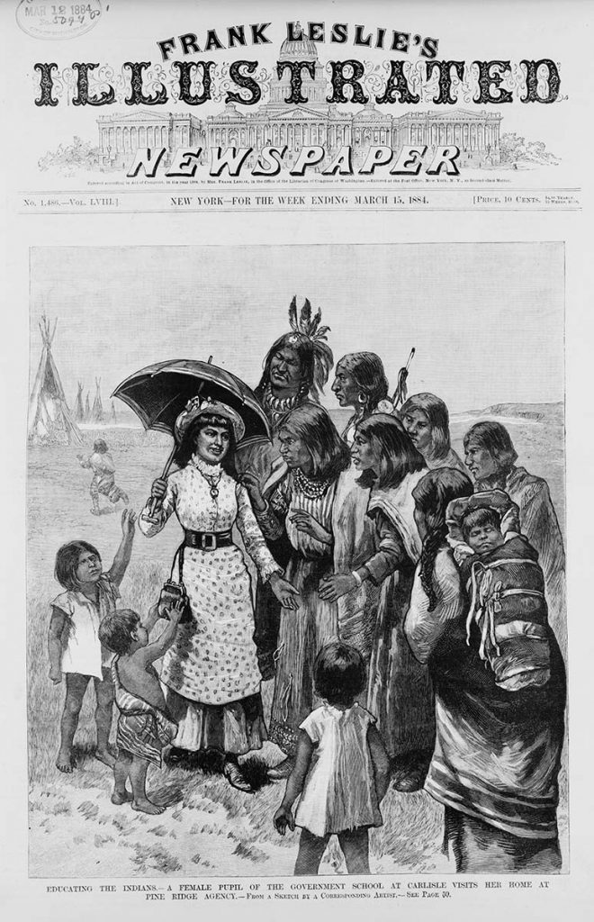 A female student from the Carlisle School visits her home at the Pine Ridge Agency in South Dakota. Sketch by correspondent dated 1884. Library of Congress Prints and Photographs Division, Washington, D.C. 20540. LC-USZ62-100543