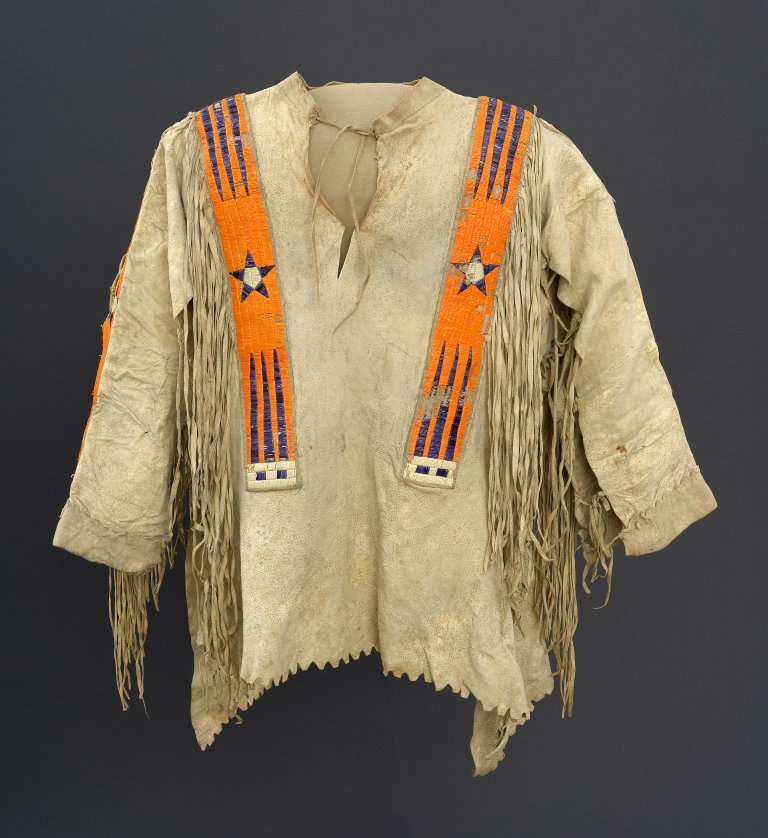 Hide shirt, ca. 1890. Hiraaca (Hidatsa). The Paul Dyck Plains Indian Buffalo Culture Collection, acquired through the generosity of the Dyck family and additional gifts of the Nielson Family and the Estate of Margaret S. Coe. NA.202.1308