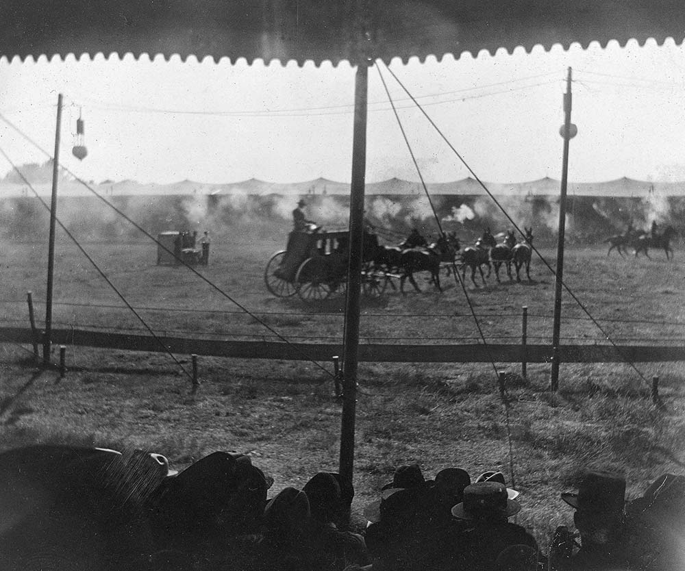 Fig. 5: Cheyenne-Deadwood stagecoach in Wild West arena, undated. MS 6 William F. Cody Collection, McCracken Research Library. P.69.1899