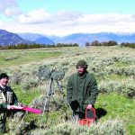The author (left) and Draper Museum/Northwest College intern Ronnie Hegemann record breeding birds on Carter Mountain near Cody in 2004. Greater Yellowstone Sights and Sounds Archive photo.