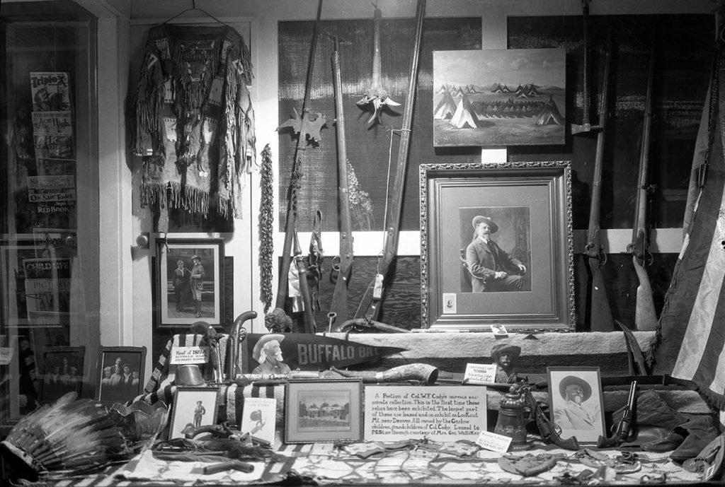 "William F. ""Buffalo Bill"" Cody exhibit—including his firearms—in the original Buffalo Bill Museum, ca. 1930. MS 228 Buffalo Bill Museum Photographs Collection, McCracken Research Library. PN.228.156"