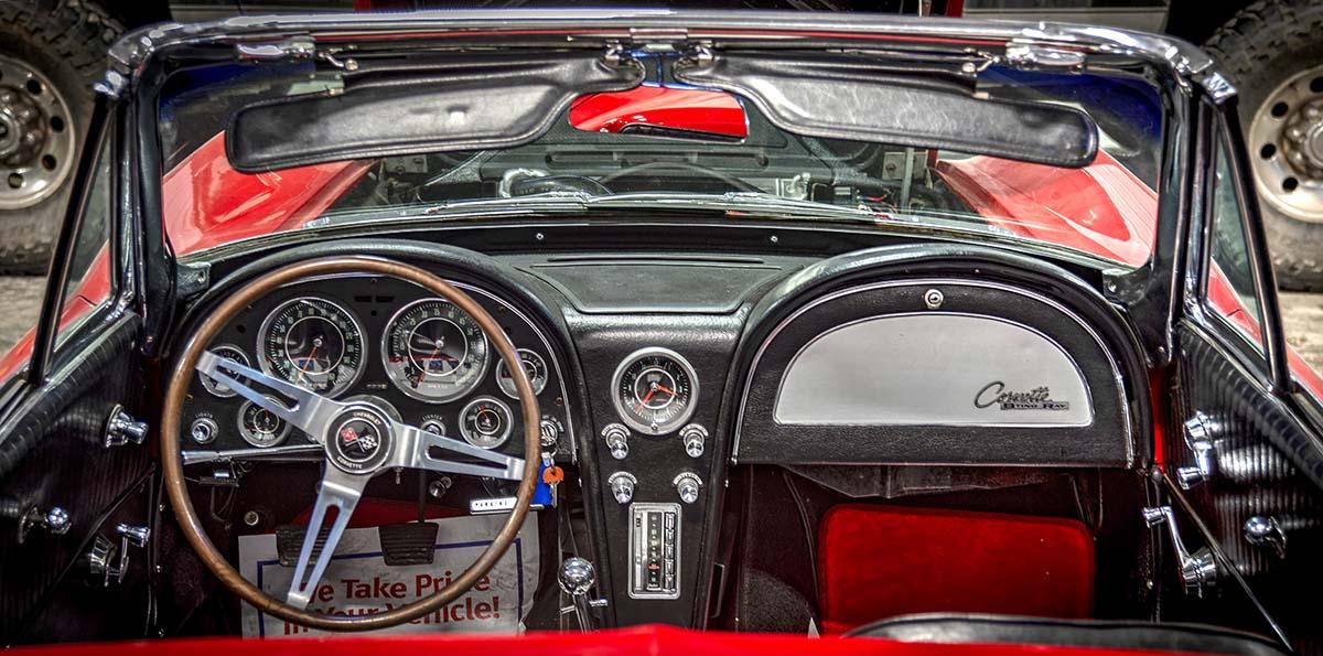 1964 Corvette convertible detail, interior