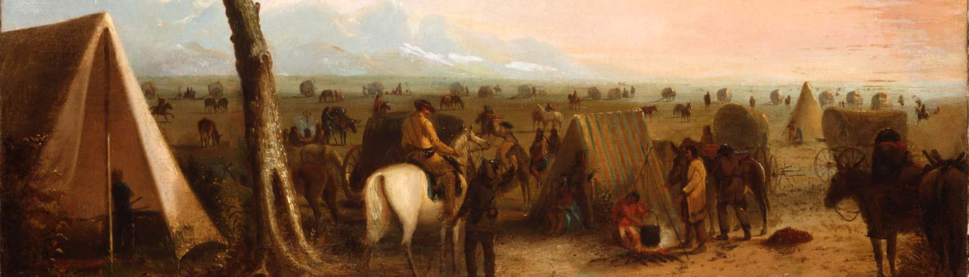 Alfred Jacob Miller (1810-1874). Our Camp, ca. 1846-1860. Oil on canvas, 26.375 x 36 inches. Gift of The Coe Foundation. 11.70 (detail)