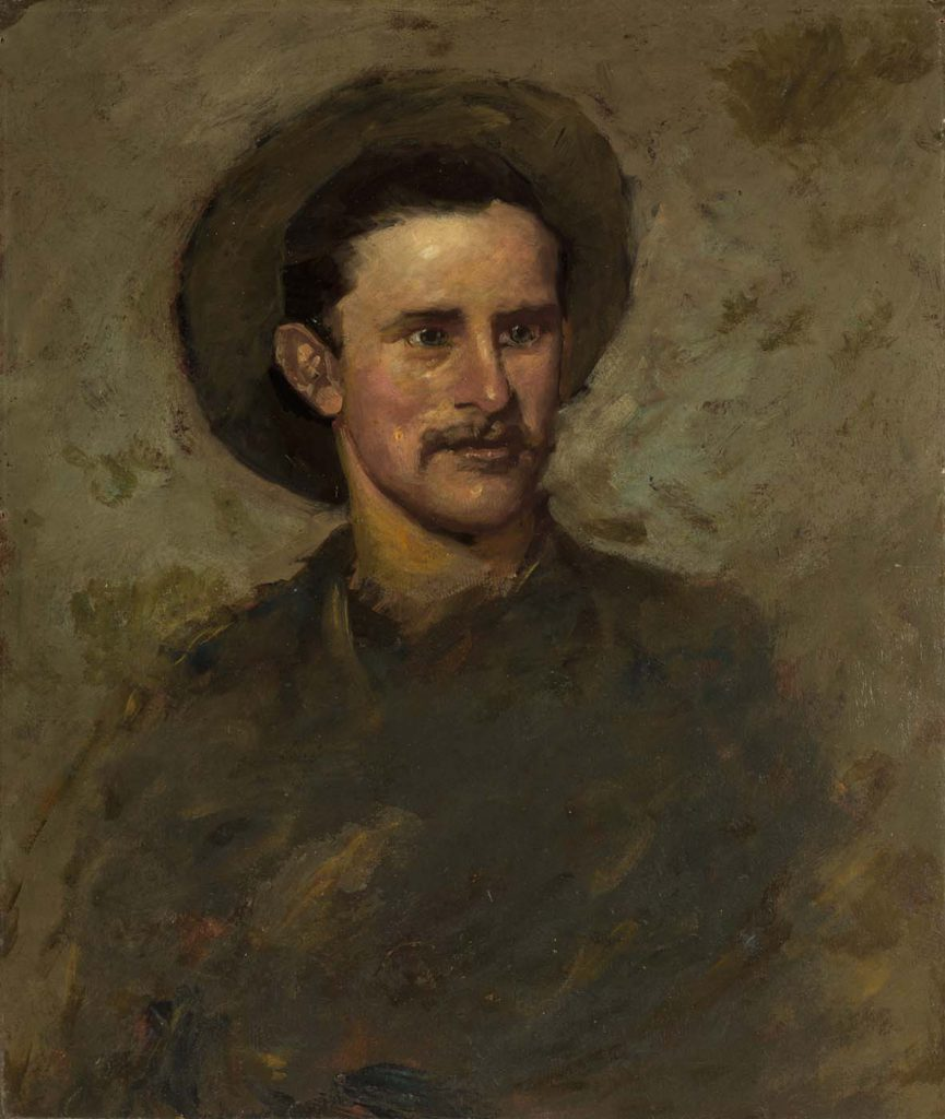 Alexander Phimister Proctor (1860-1950). Self-Portrait, 1882. Oil on paperboard mounted on canvas, 26 x 22 inches. Gift of A. Phimister Proctor Museum with special thanks to Sandy and Sally Church. 2.16.9