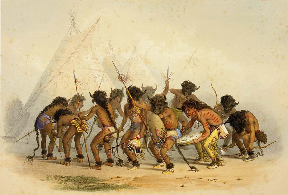 Catlin. Buffalo Dance – Sioux, 1844. Hand-colored lithograph on paper. Gift of Mrs. Sidney T. Miller. 21.74.8