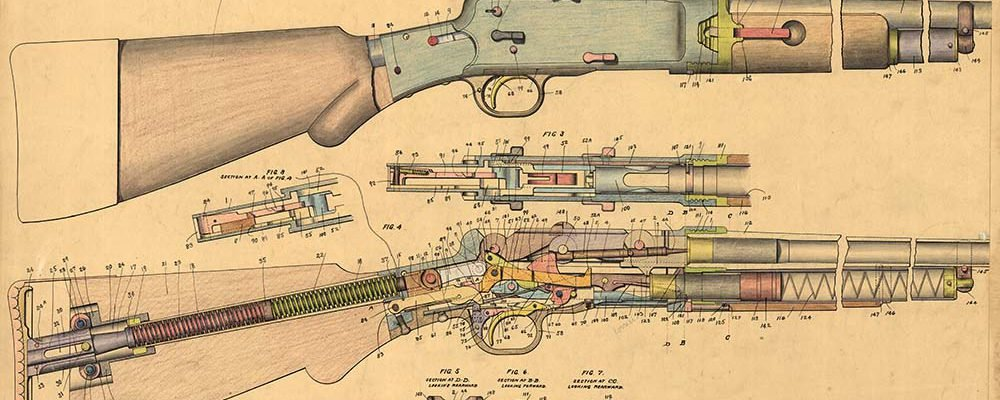 Design drawing, 16 ga. repeating shotgun, right view and cutaway, showing all parts. 8-16-1900. MS 063 Winchester Repeating Arms Company Collection. Olin Corporation Charitable Trust. MS63.119.053