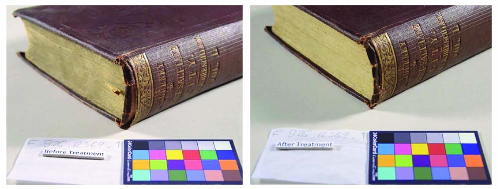 "Conservation treatment ""before and after"" images of one of the rare book's in Mary Hiestand's collection."
