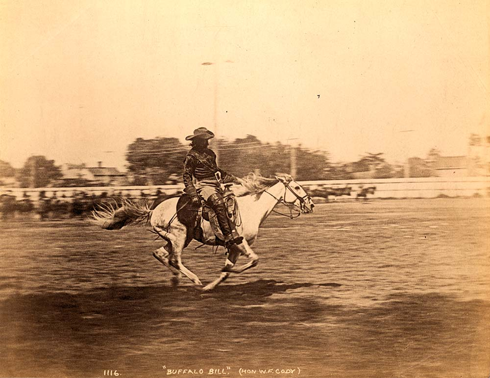 Buffalo Bill galloping in an arena, undated. MS 071 Vincent Mercaldo Collection, McCracken Research Library. P.71.1325