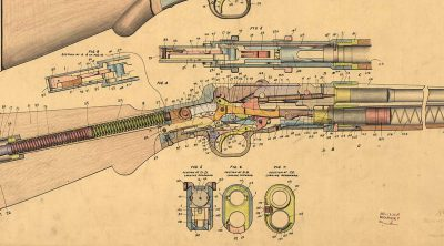 Design drawing, 16 ga. repeating shotgun, right view and cutaway, showing all parts. 8-16-1900. MS 063 Winchester Repeating Arms Company Collection. Olin Corporation Charitable Trust. MS63.119.053 (detail)