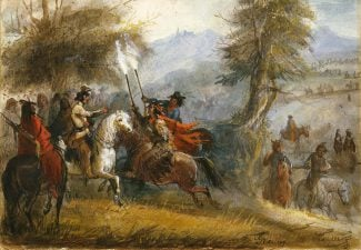 """Alfred Jacob Miller (1810-1874). """"Greeting the Trappers,"""" ca. 1837. Watercolor on paper. Gift of The Coe Foundation. 8.70"""