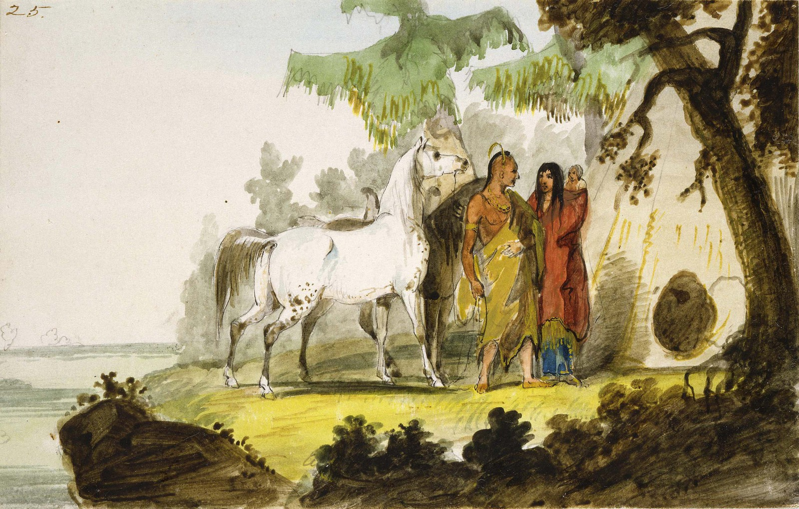 "Alfred Jacob Miller (1810-1874). ""Sioux Indian's Lodge,"" ca. 1837. Pen and ink, and watercolor on paper. Bequest of Joseph M. Roebling. 14.80"
