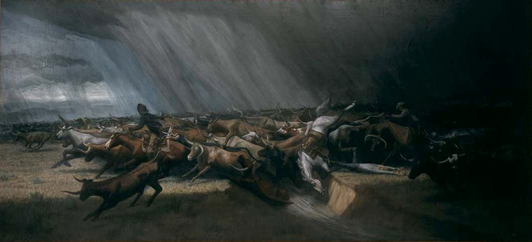 (Fig. 4) Harry Jackson. Stampede (1965). Oil on canvas. Gifts of The Coe Foundation. 29.65