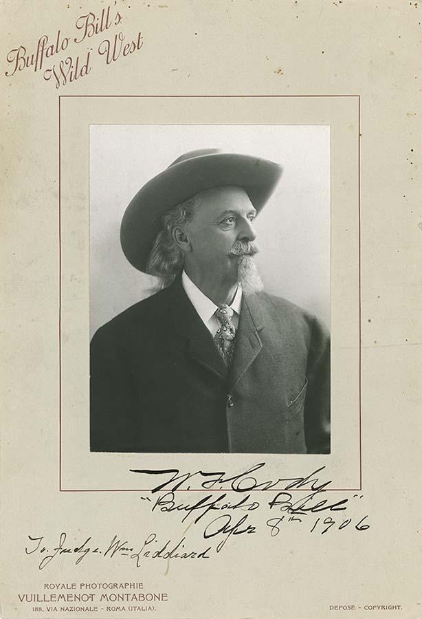 "William F. ""Buffalo Bill"" Cody in Italy, April 8, 1906. Gift of Mrs. Earl Newton. P.6.139"
