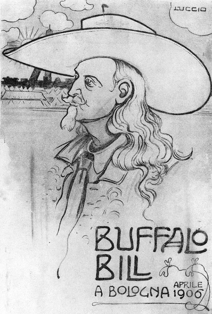 "Buffalo Bill in Bologna, April 1906. ""La Rana"" magazine. Garlow SB.SvnrPstl.32.03"