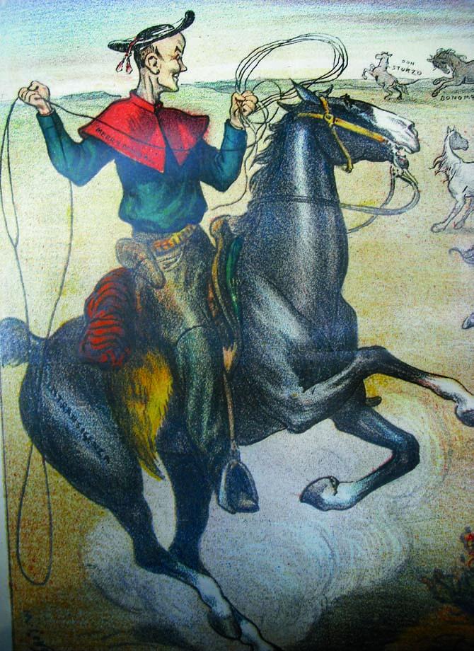 "Cardinal Merry del Val as a cowboy in the West. April 1906 ""La Rana."" (detail)"