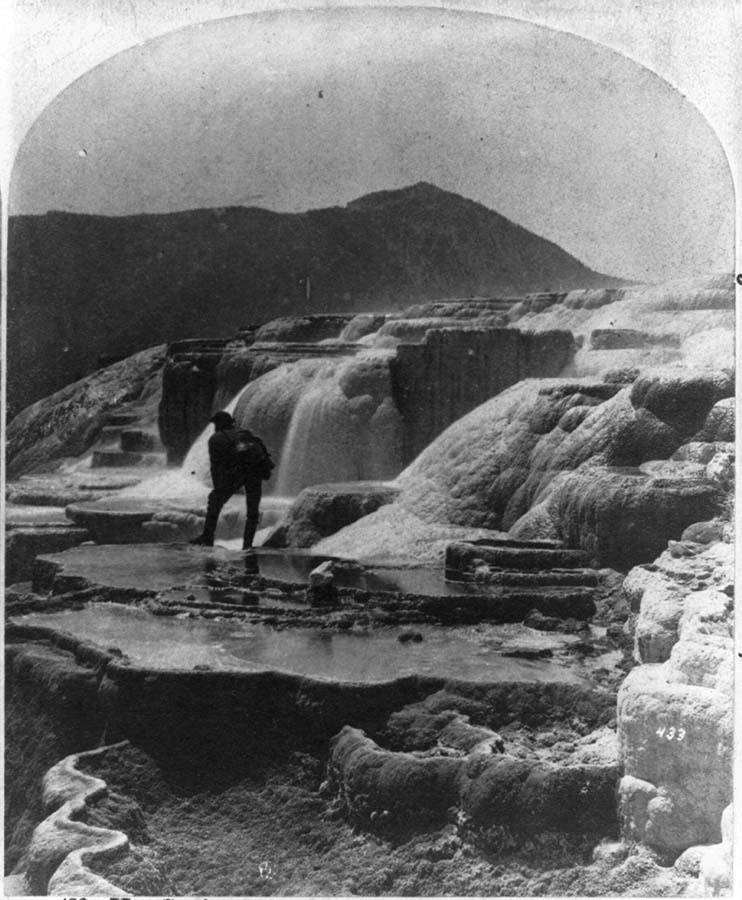 Images like this led to Yellowstone's designation as the world's first national park. William Henry Jackson stereograph of Yellowstone hot springs, 1871. Library of Congress Prints and Photographs Division Washington, D.C. 20540 USA.