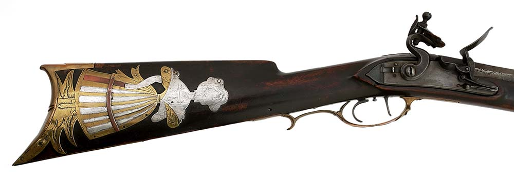 Detail of flintlock rifle by Macon Georgia School, shown above. 1988.8.1586