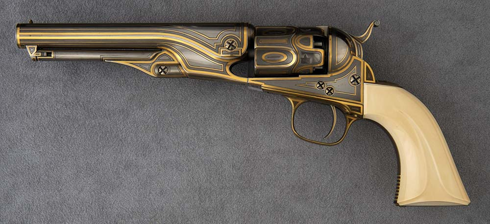 Colt Model 1862 Police Revolver, 36 caliber. Embellished in 1999 by famed craftsman Raymond Wielgus (1920-2010) using gold, ivory, and steel. Gift of Raymond J. Wielgus. 2010.17.12