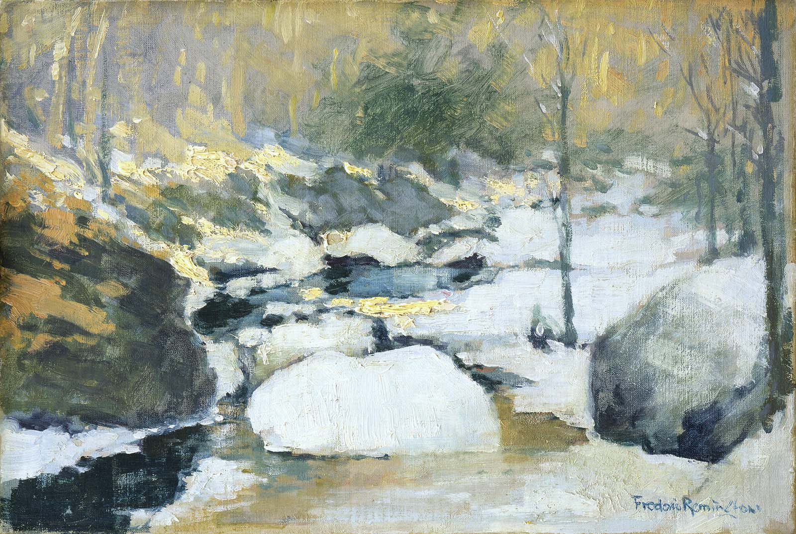 Frederic Remington (1861 - 1909). Untitled (Impressionistic winter scene of stream, rocks, and trees). Oil on board. Gift of The Coe Foundation. 75.67