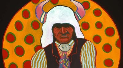 """T.C. Cannon (1946-1978). """"Buffalo Medicine Keeper,"""" ca. 1974. Acrylic and oil on canvas. William E. Weiss Memorial Fund Purchase. 8.02"""