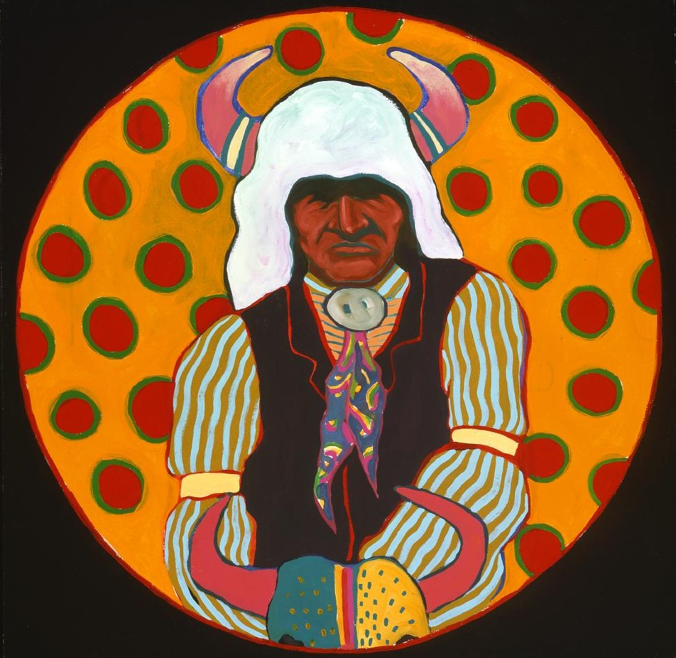 "T.C. Cannon (1946-1978). ""Buffalo Medicine Keeper,"" ca. 1974. Acrylic and oil on canvas. William E. Weiss Memorial Fund Purchase. 8.02"