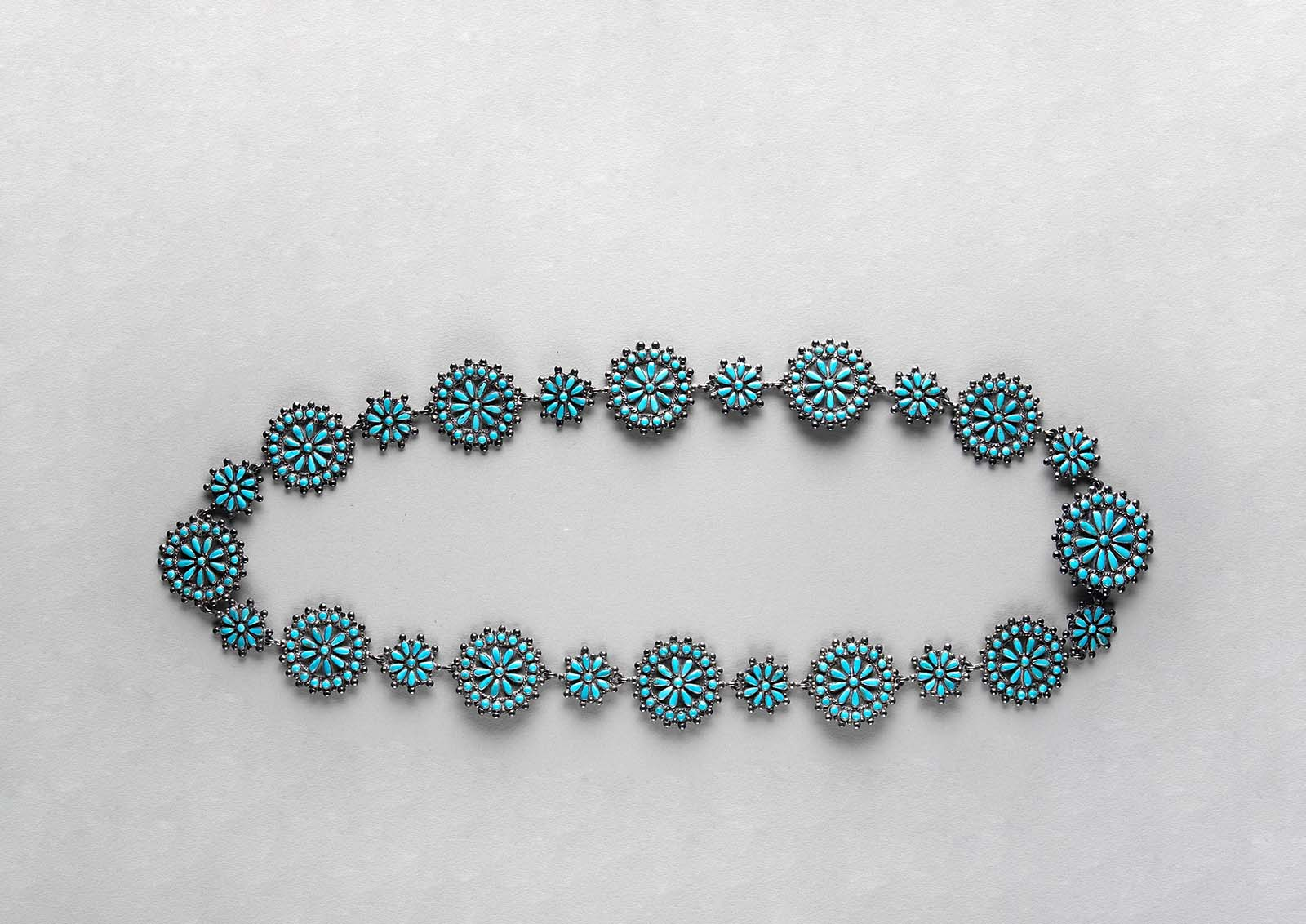 Silver and turquoise belt, ca. 1940s. Gift of Mrs. Frank D. Oastler. NA.203.309