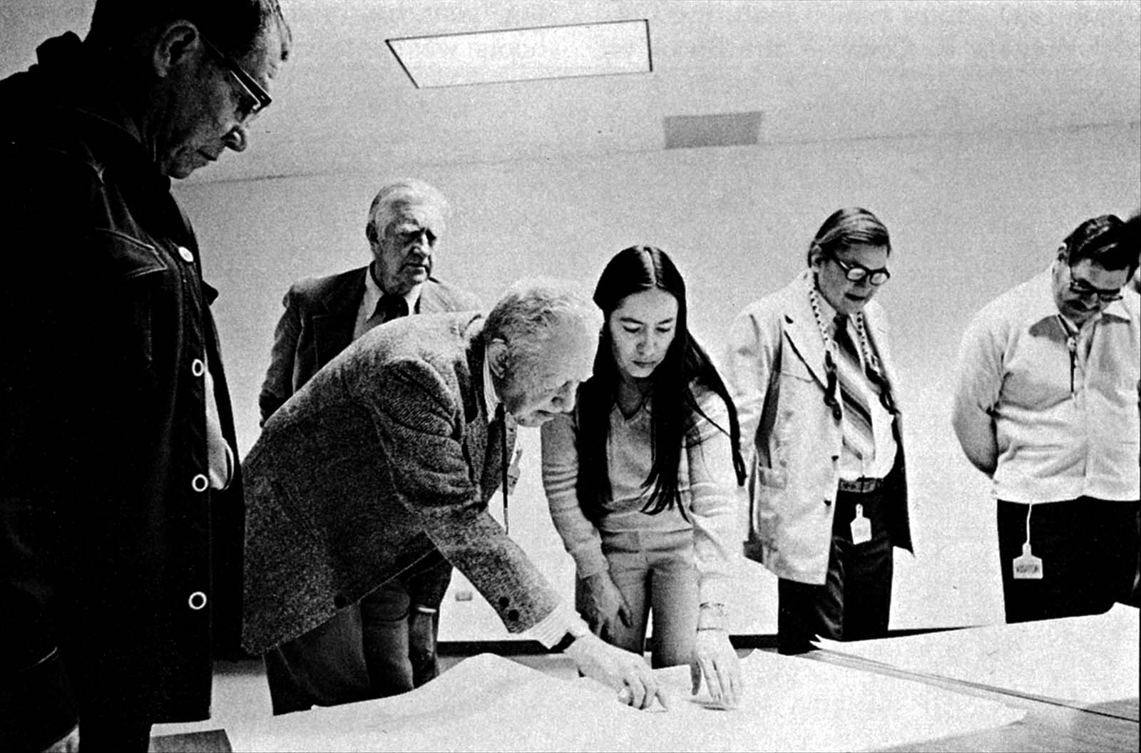 Fig. 4: (L-R) John Warren, Arapaho; Dr. Dewitt Dominick; Royal B. Hassrick; Marie Varilek, Shoshone; and George Horse Capture, Gros Ventre: the first Plains Indian Museum Advisory Board, 1976, Cody, Wyoming.