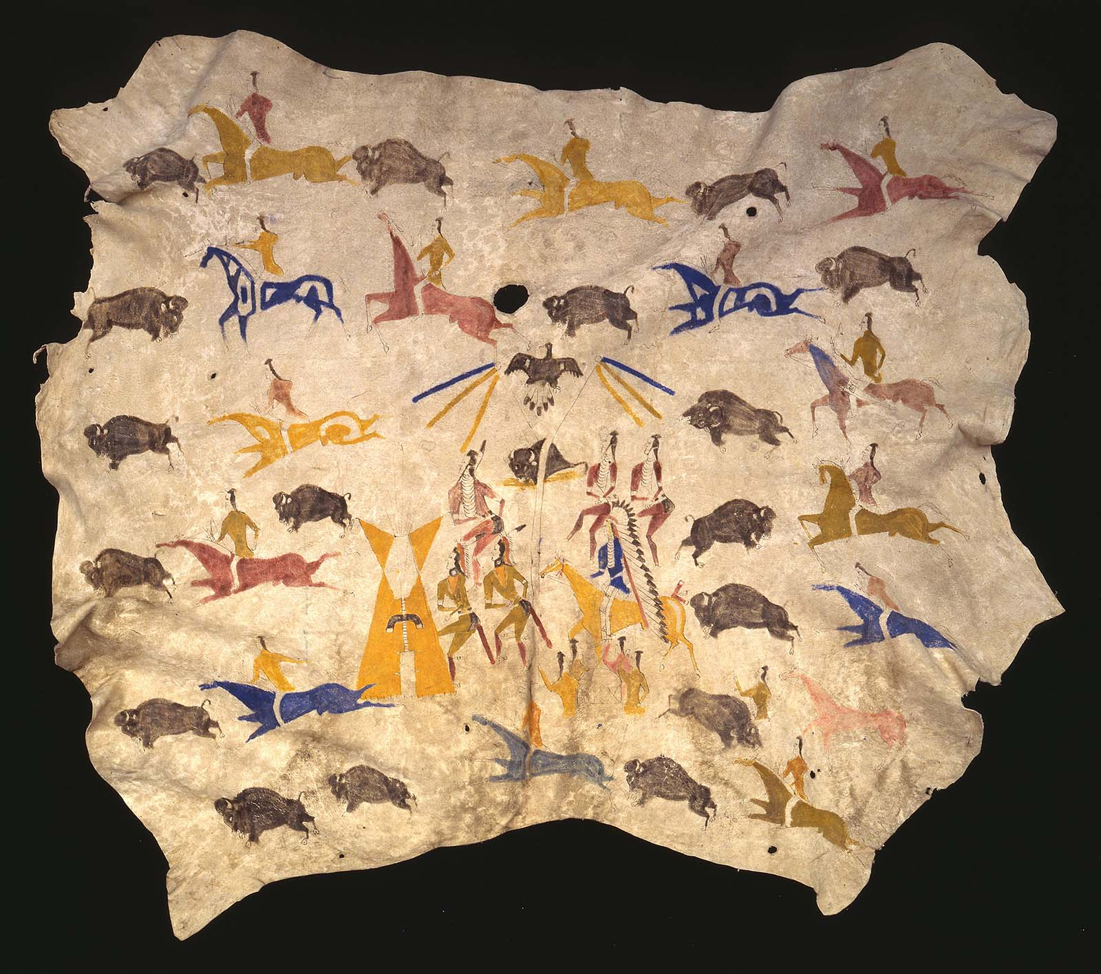 Fig. 1: Cadzi-Codsiogo, painted hide, Eastern Shoshone, ca. 1900. Tanned cow hide and pigment. Museum Purchase, Mary Jester Allen Collection. NA.702.31