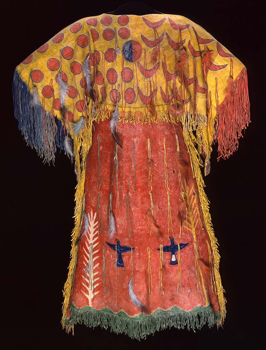 Fig. 5: Ghost Dance dress, Southern Arapaho, ca. 1890. Tanned elk hide, pigment, feathers. Chandler-Pohrt Collection. Gift of Mary J. and James R. Jundt. NA.204.4