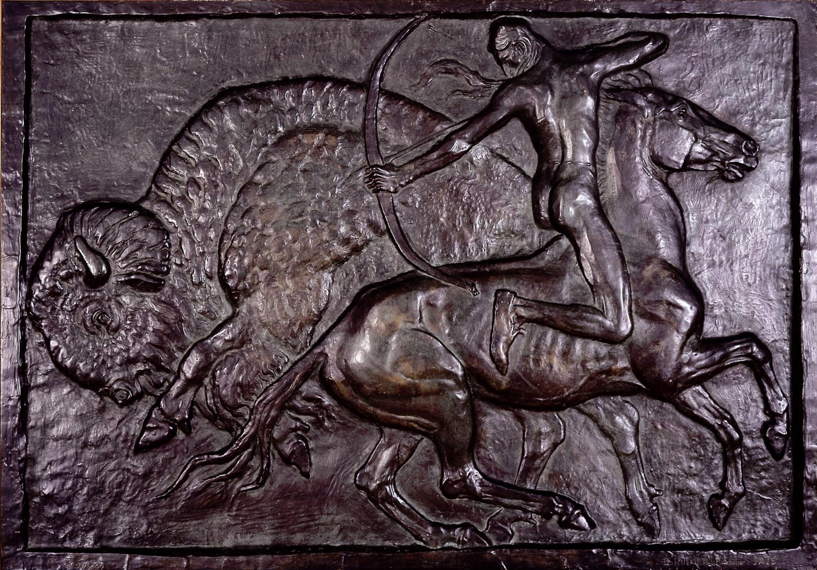 "Charles Carey Rumsey (1879 - 1922). ""Buffalo Hunt,"" 1922. Bronze. Gift of the Rumsey Family. 18.91"