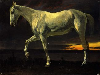 Albert Bierstadt (1830-1902), White Horse and Sunset, 1863. Oil on board. Gift of Carman H. Messmore. 2.62