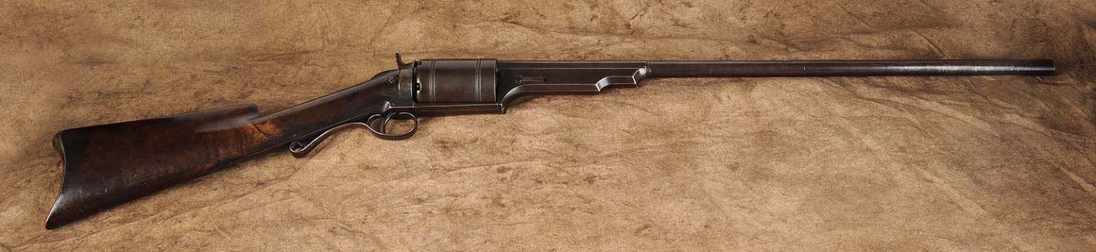 Colt-Paterson Model 1839 revolving shotgun. Gift of Olin Corporation, Winchester Arms Collection. 1988.8.605