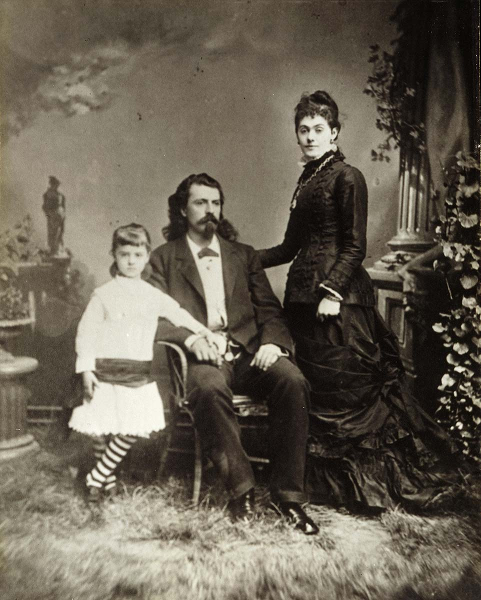 Taken around 1872 when they were living in Ft. McPherson, Nebraska, this earliest-known photograph of the Cody family shows William F. Cody and his wife, Louisa Frederici Cody, and their daughter, Arta. P.69.188
