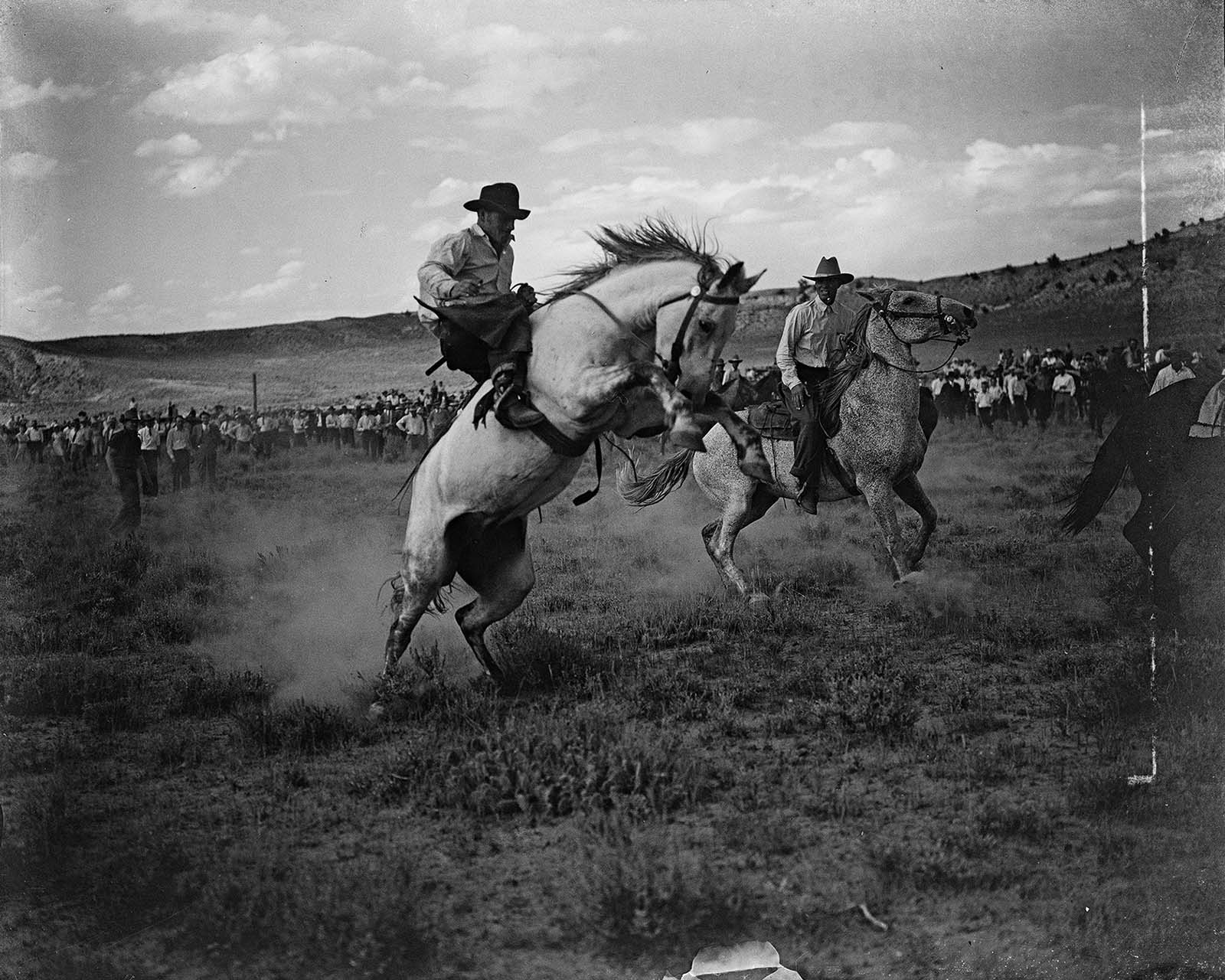 Cecil McMillin rides bucking horse. MS 3 Charles Belden Collection., McCracken Research Library. PN.67.597