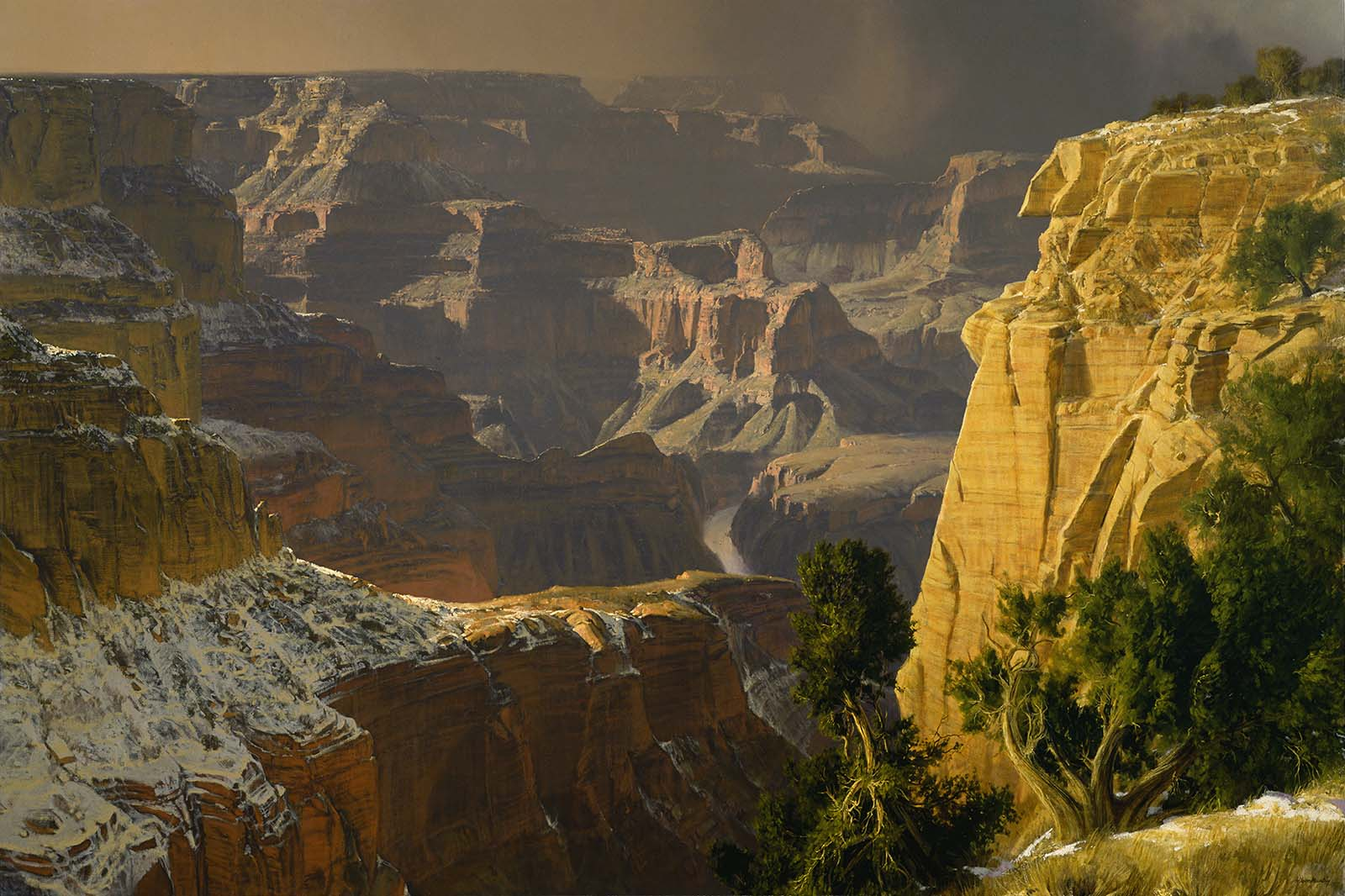 """Wilson Hurley (1924-2008). """"View from the Mohave Wall,"""" 1976. Oil on canvas, 60.25 x 90.25 inches. 6.76"""