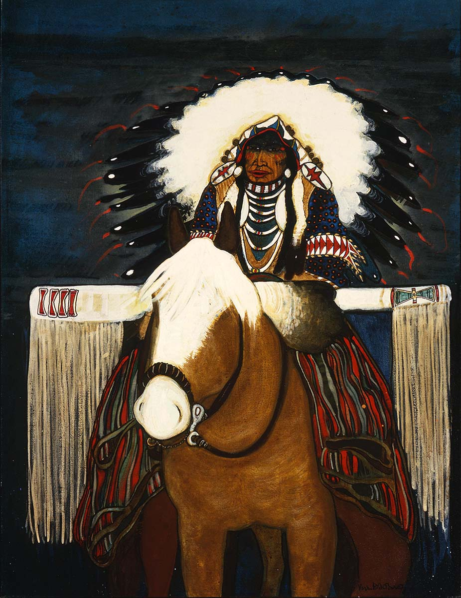 """Kevin Red Star (b. 1943). """"Crow Indian Parade Rider,"""" 1982. Oil on canvas, 42 x 31.875 inches. Gift of Mr. and Mrs. W.D. Weiss. 7.94"""