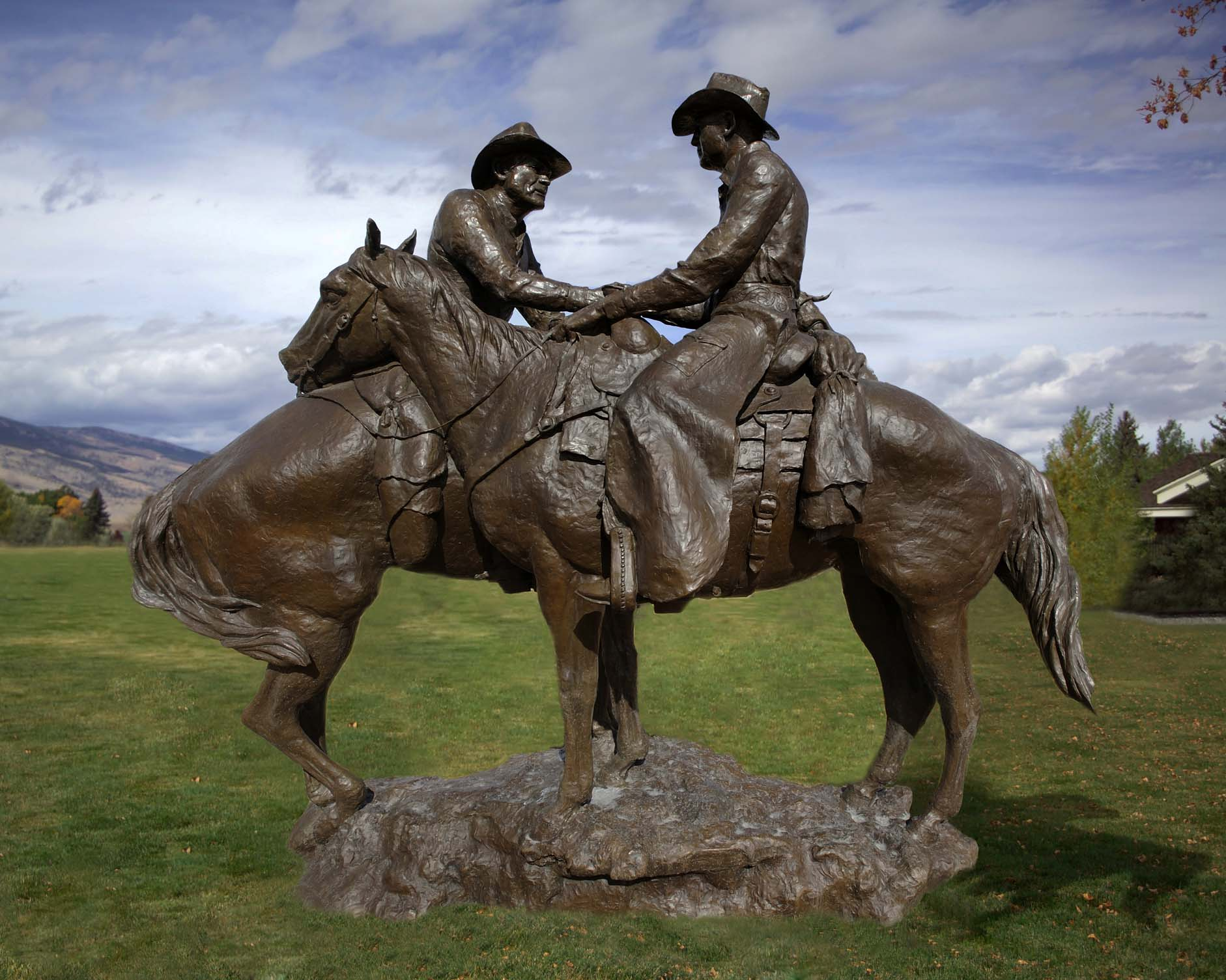 """Herb Mignery (b. 1937). """"Code of the West,"""" 1998. Bronze, 140 x 137 x 72 inches. Gift of Mike Kammerer / Cody of the West Foundation. 9.01"""