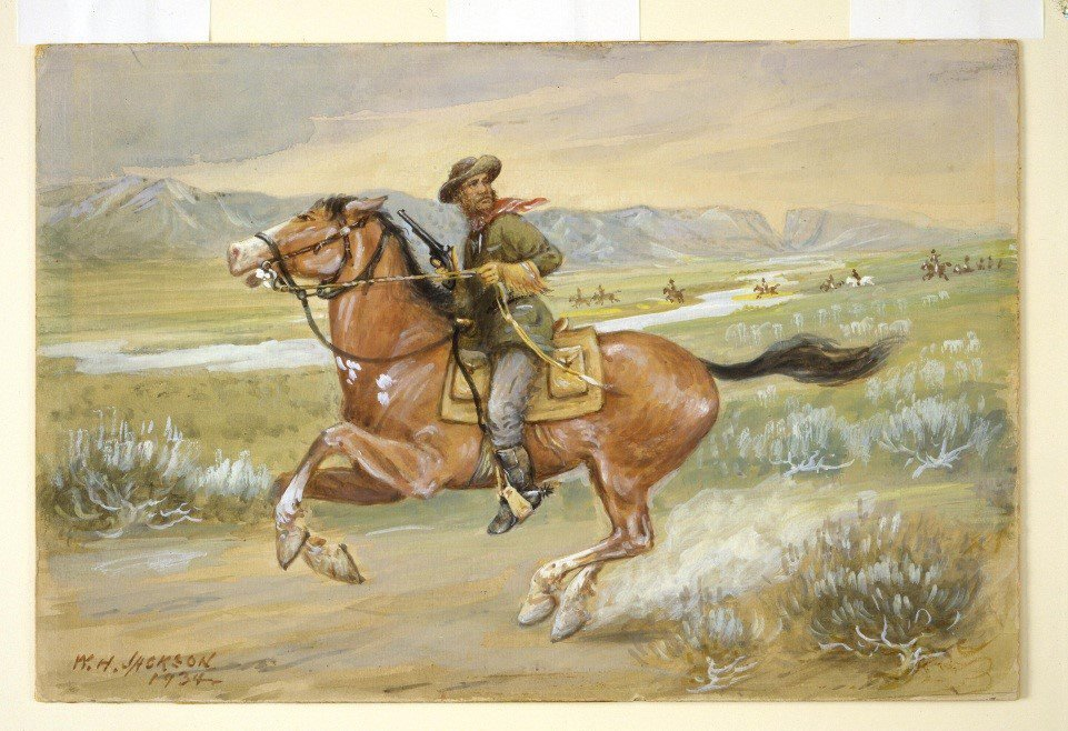 Pony Express Rider, William Henry Jackson, watercolor, 54.59